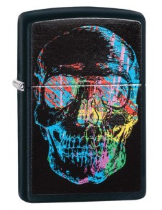 Zippo Lighter  Black Matte Colorful Skull