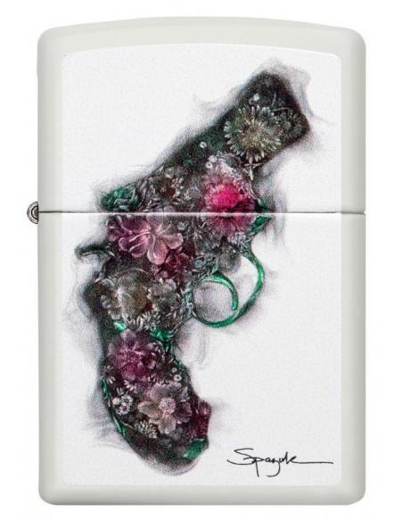 Zippo Lighter White Matte Bouket Revolver