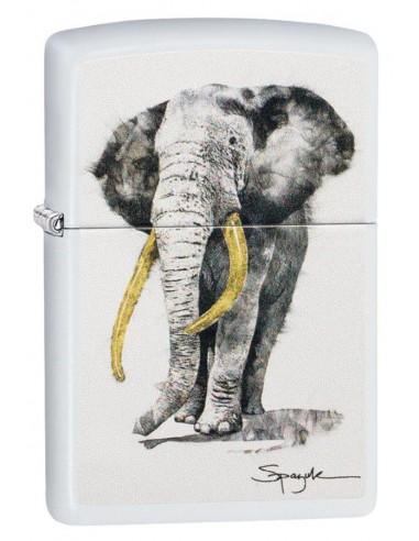 Zippo Lighter White Matte Spazuk Elephant