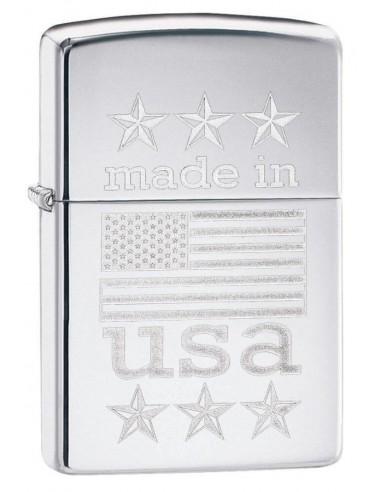 Zippo Upaljač High Polish Chrome Made in USA Wth Flag