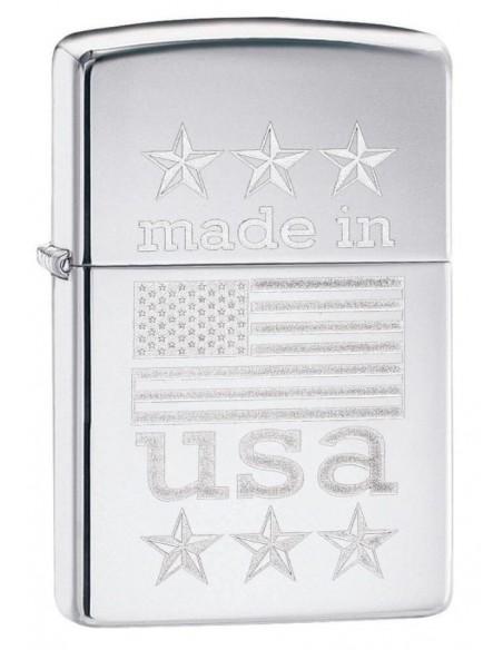 Zippo Lighter High Polish Chrome Made in USA Wth Flag