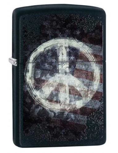 Zippo Upaljač Black Matte Peace on Flag