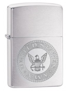 Zippo Lighter Classic Brushed Chrome U.S. NAVY
