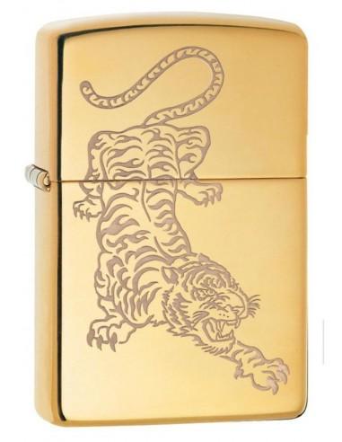 Zippo Lighter High Polish Brass Tatto Tiger Design