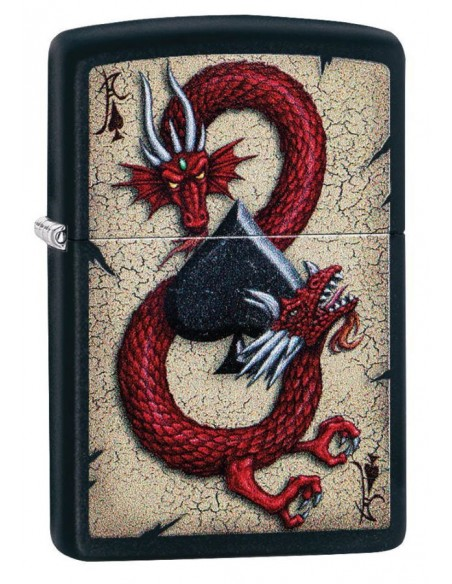 Zippo Lighter Black Matte Dragon Ace Design