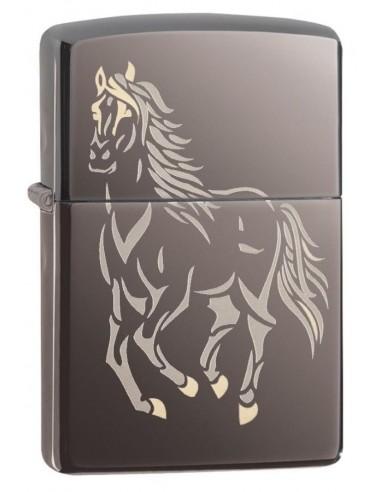 Zippo Lighter High Polish Black Ice Running Horse