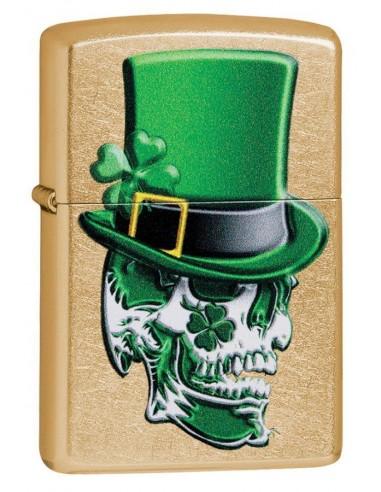 Zippo Lighter Gold Dust Zippo Irish Skull Design