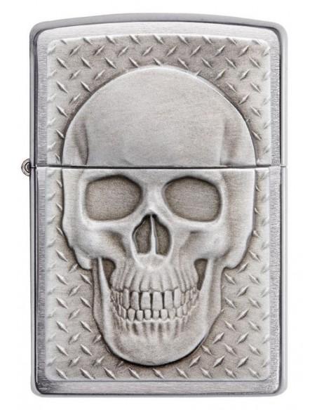 Zippo Lighter Brushed Chrome  Skull With Brain Suprise Emblem
