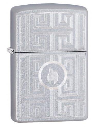 Zippo Lighter Satin Chrome Labyrinth Design