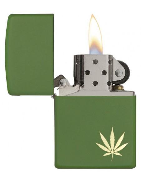Zippo Lighter Green Matte Leaf on the Side