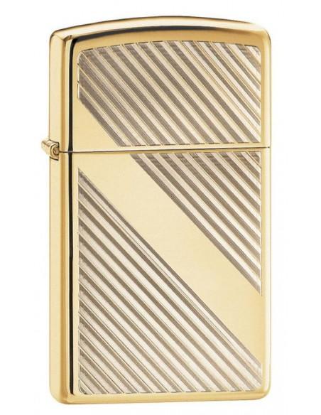 Zippo Lighter Slim High Polish Brass Line Design
