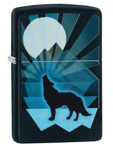 Zippo Upaljač Black Matte Wolf and Moon Design