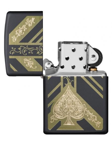 Zippo Lighter Black Matte Ace of Spades