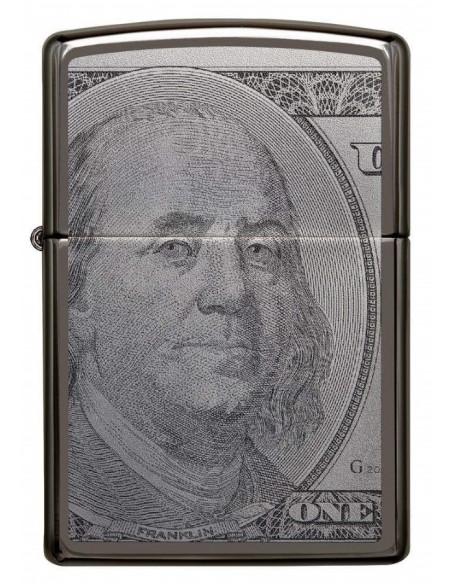 Zippo Lighter Black Ice High Polish Ice Currency Design