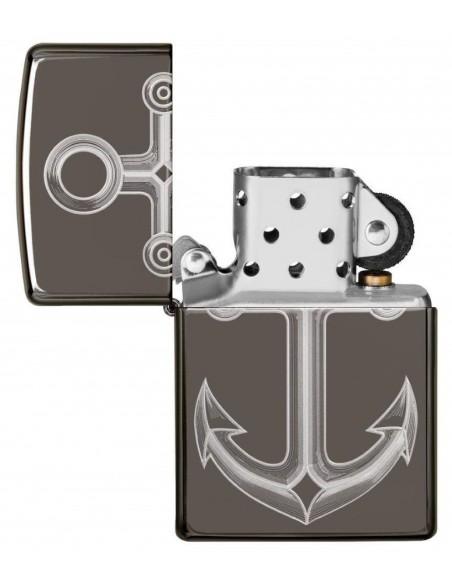 Zippo Lighter Black Ice High Polish Ice Anchor Design