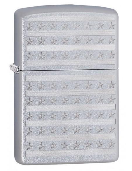 Zippo Lighter Satin Chrome Stars and Stripes Patriotic Design