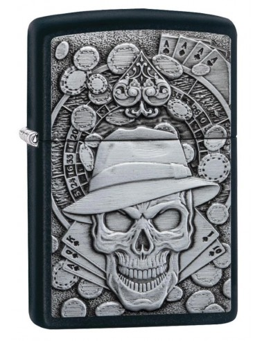 Zippo Upaljač Black Matte Gambling Skull Emblem