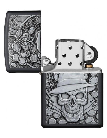 Zippo Lighter Black Matte Gambling Skull Emblem