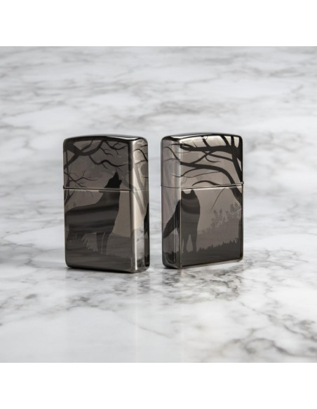 Zippo Lighter Black Ice High Polish Wolves Design