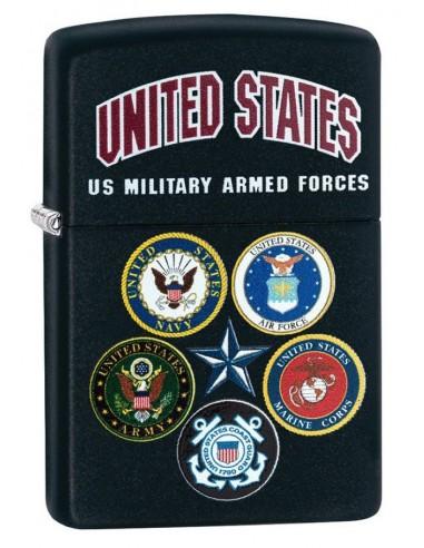 Zippo Lighter Black Matte US Military Armed Forces