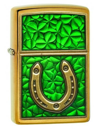 Zippo Upaljač Brushed Brass Horse Shoes & Clover Emblem