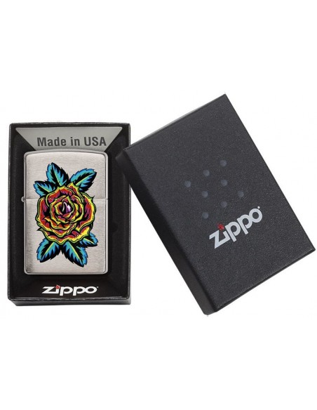 Zippo Lighter Brushed Chrome Flower Tatto