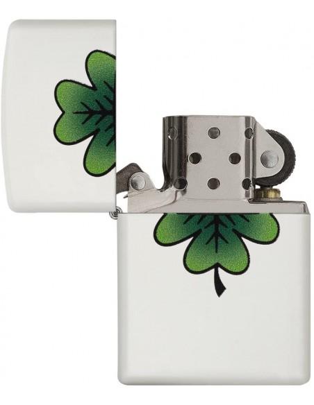 Zippo Lighter White Matte Clover Design