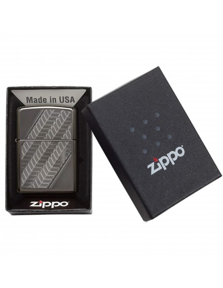 Zippo Lighter Black Ice High Polish Auto Engrave