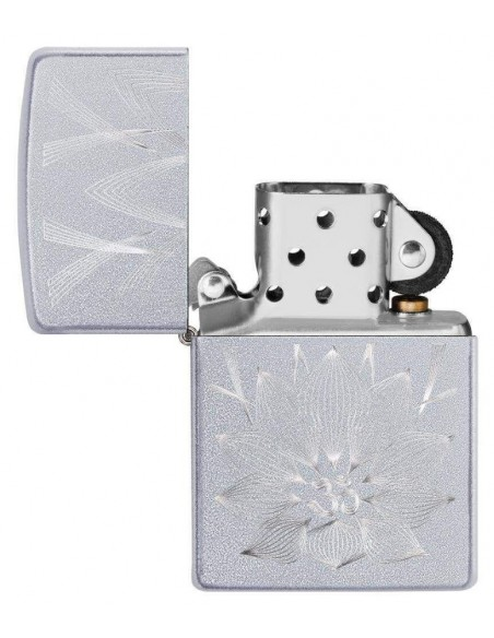 Zippo Lighter Satin Chrome Lotus Ohm Design