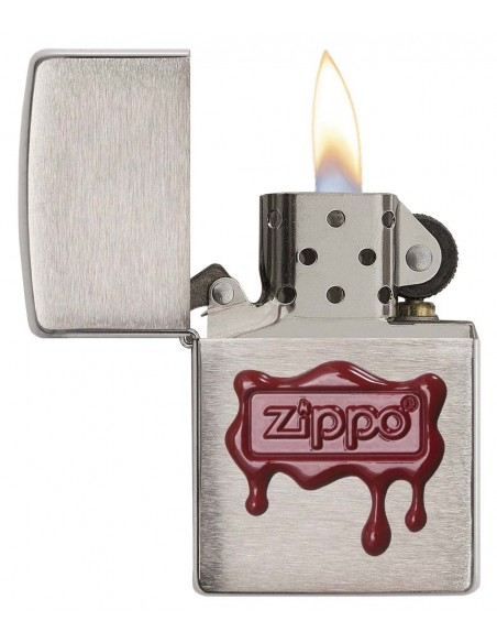 Zippo Upaljač Brushed Chrome Zippo Red Wax Seal