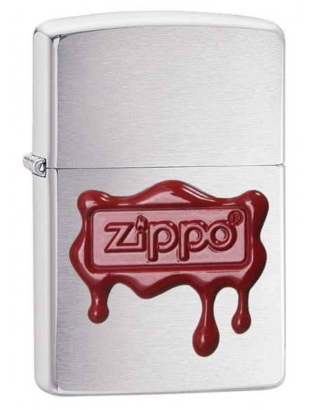 Zippo Lighter Classic Brushed Chrome Zippo Red Wax Seal