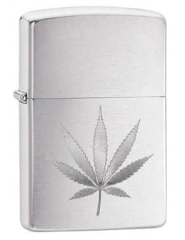 Zippo Upaljač Brushed Chrome Marijuana Leaf Design