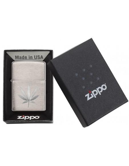 Zippo Lighter Brushed Chrome Marijuana Leaf Design