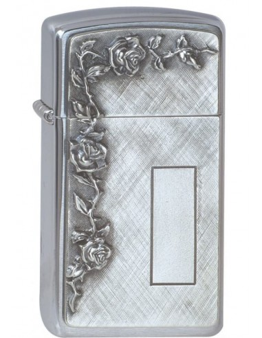 Zippo Lighter Slim Brushed Chrome Roses With Panel Emblem
