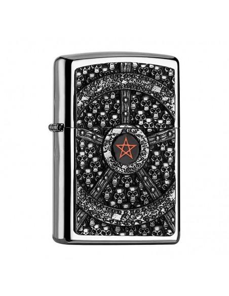 Zippo Lighter High Polish Chrome Skull Pentagram Emblem