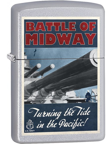 Zippo Lighter Satin Chrome US NAVY Battle of Midway