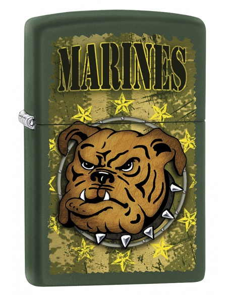 Zippo Lighter Green Matte USMC Buldog