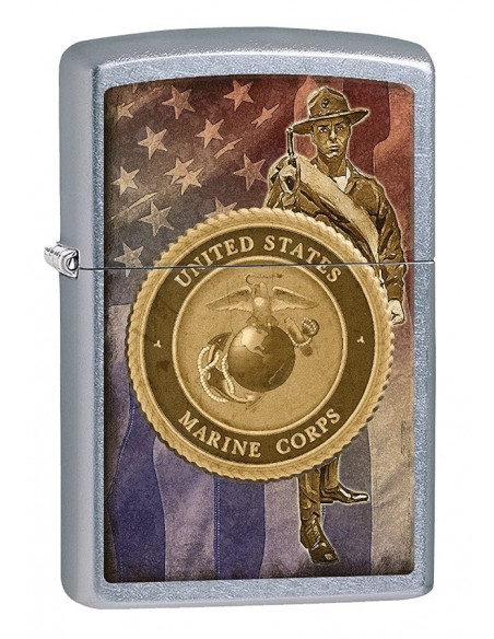 Zippo Lighter Street Chrome USMC Soldier