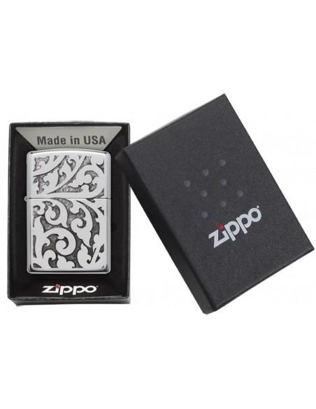 Zippo Lighter High Polish Chrome Filigree