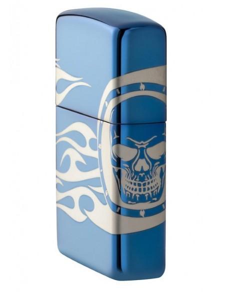 Zippo Lighter High Polish Blue Tattoo Design