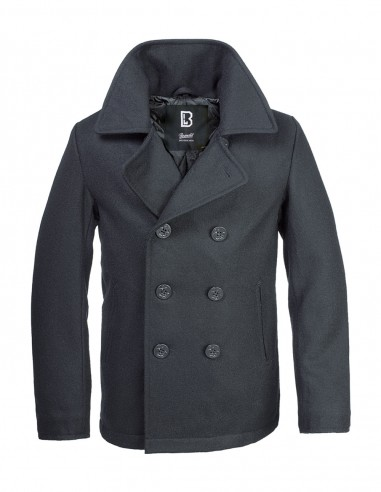 Brandit Mornarski Kaput Pea Coat Black