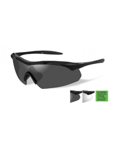 WX SUNGLASSES VAPOR GREY/CLEAR MATTE BLACK FRAME