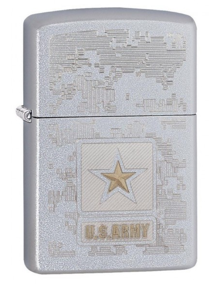Zippo Lighter Satin Chrome US Army