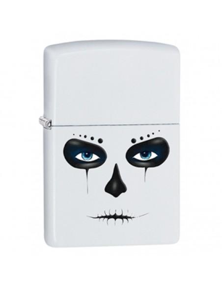 Zippo Lighter White Matte Skull Mask