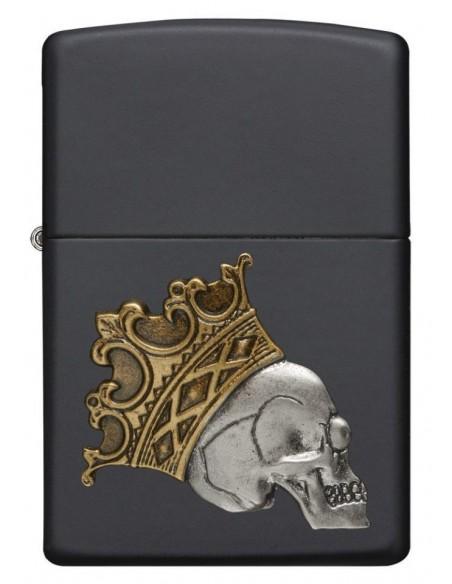Zippo Lighter Black Matte King Skull Emblem