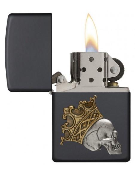 Zippo Upaljač Black Matte King Skull Emblem