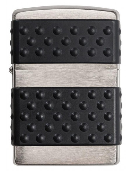 Zippo Lighter Brushed Chrome Black Zip Guard