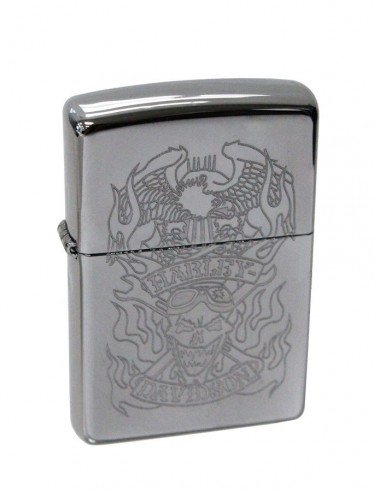 Zippo Lighter High Polish Chrome Harley Davidson Skull