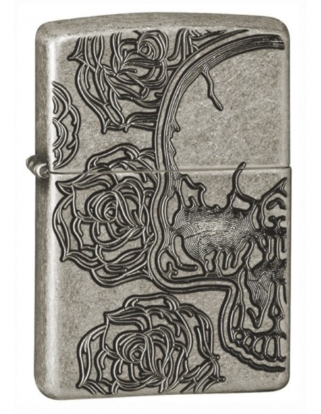 Zippo Lighter Armor Antique Silver Skull Roses