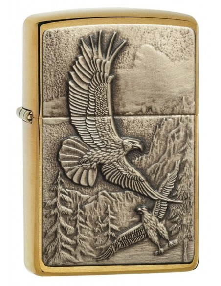 Zippo Lighter Brushed Brass Where Eagles Dare Emblem